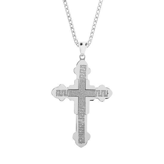Imagen de Silver-Tone Stainless Steel Men's Glitter Greek Key Cross Pendant Curb Chain Necklace