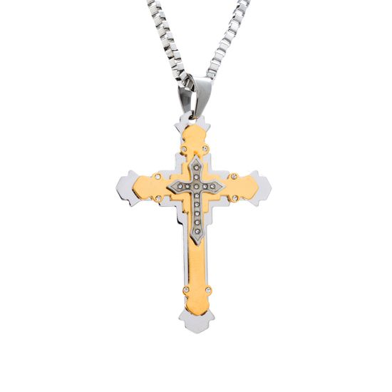 Imagen de Two-Tone Stainless Steel Crystal Cross Box Chain Mens Necklace
