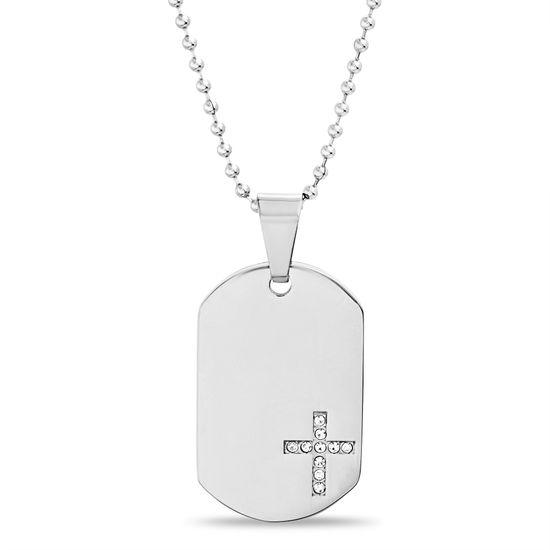 Imagen de Silver-Tone Stainless Steel Men's Cubic Zirconia Cross Pendant 24 Box Chain Necklace