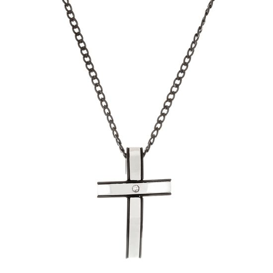 Imagen de Two-Tone Sterling Silver Cubic Zirconia Black Curved Cross with Center Stone Curb Chain Necklace