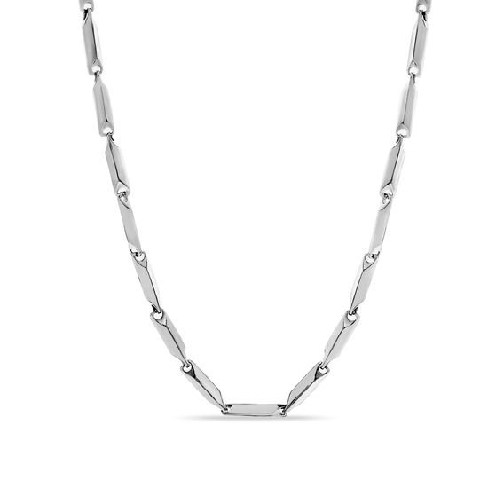 Imagen de Silver-Tone Stainless Steel Bar Chain Necklace