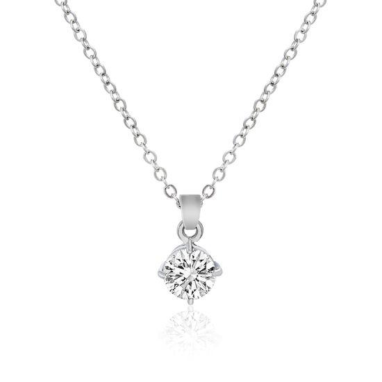 Imagen de Silver-Tone Alloy Cubic Zirconia Pendant Cable Chain Necklace