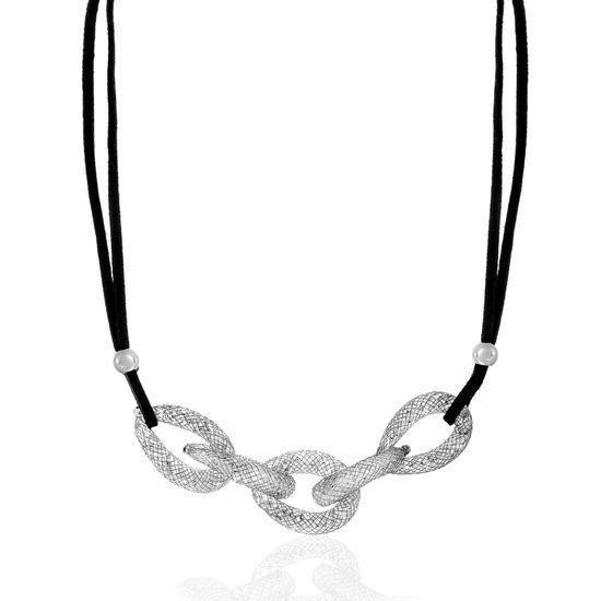 Imagen de Silver-Tone Alloy Crystal Interlocked Rings Black Cord Necklace