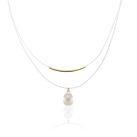 Imagen de Gold-Tone Alloy Curved Bar Dangling Freshwater Pearl Double Layered Wire Necklace