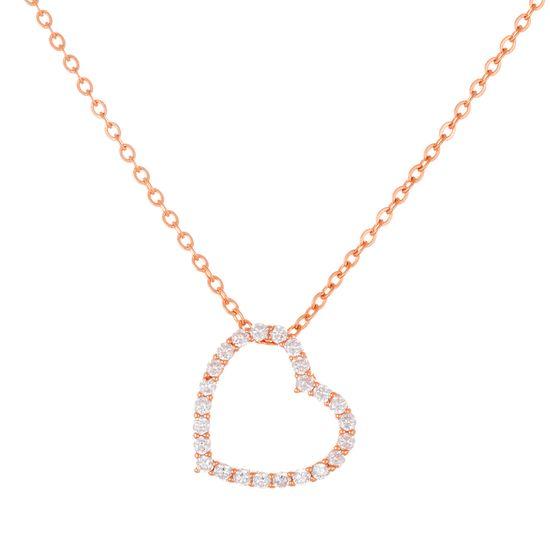 Imagen de Sterling Silver Cubic Zirconia Open Heart Pendant