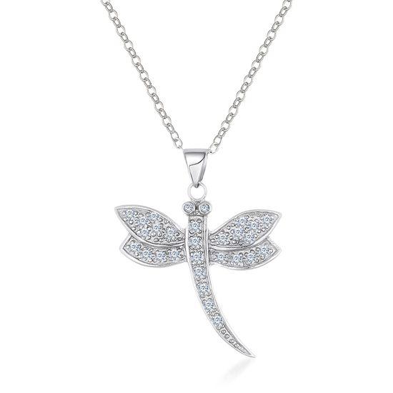 Imagen de Silver-Tone Brass Cubic Zirconia Dragonfly Pendant Cable Chain Necklace