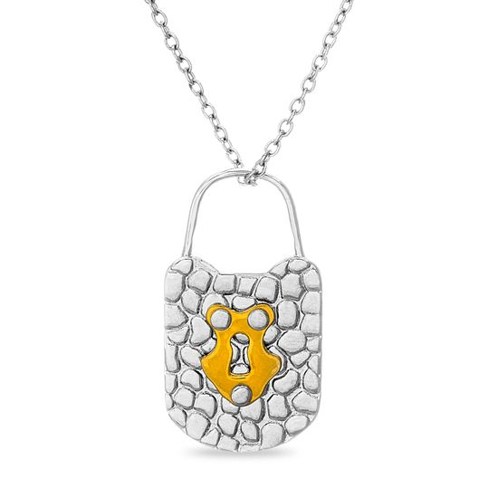 Imagen de Two-Tone Sterling Silver Polished Hammered Style Lock Pendant