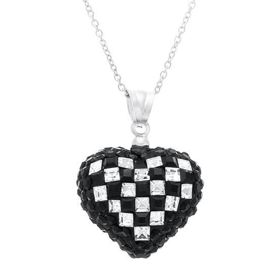 Imagen de Sterling Silver Cubic Zirconia Black Checkerboard Design Puff Heart Pendant