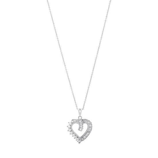Imagen de Sterling Silver Simulated Daimond Heart Necklace