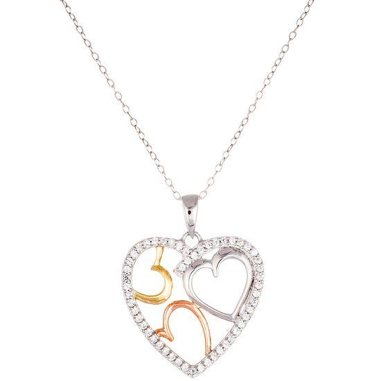 Imagen de STERLING SILVER TRI-COLOR RHODIUM/ GOLD /ROSE OPEN HEART DISC CZ BORDER PEANDANT ON 18 CABLE CHAIN NECKLACE