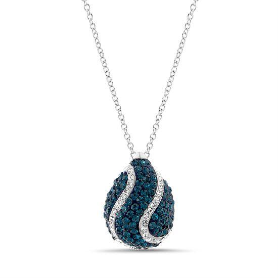 Imagen de Rhodium Plated Brass Blue & Clear Crystal Teardrop Pendant