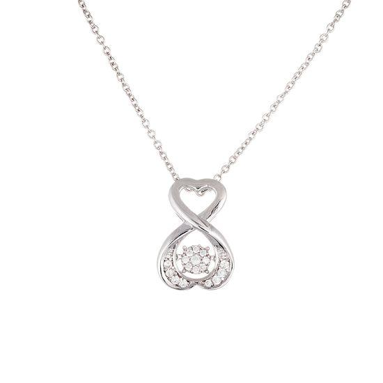 Imagen de Sterling Silver Cubic Zirconia Basket Swirl Heart Beat Pendant and Necklace