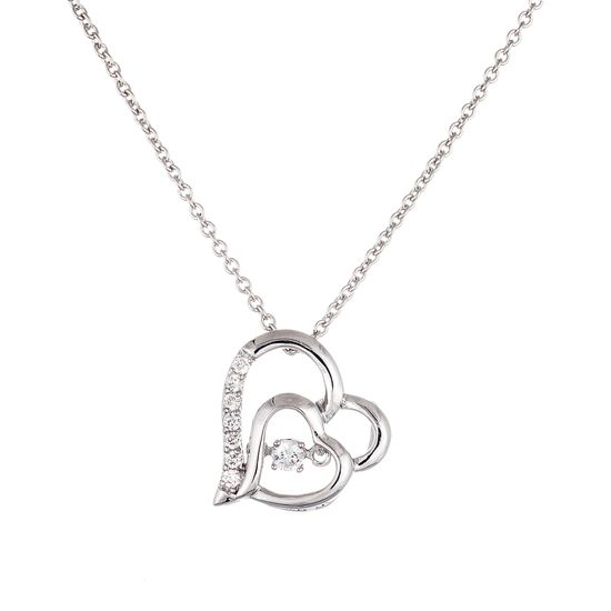 Imagen de Sterling Silver Polished and Cubic Zirconia Double Open Heart Beat Pendant and Necklace