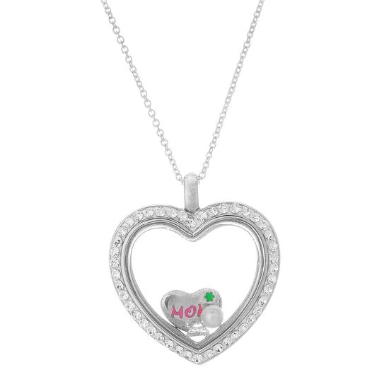 Imagen de Silver-Tone Brass Cubic Zirconia Heart with Mom/Freshwater Pearl/Simulated Diamond Charms Locket 18 Cable Chain Necklace