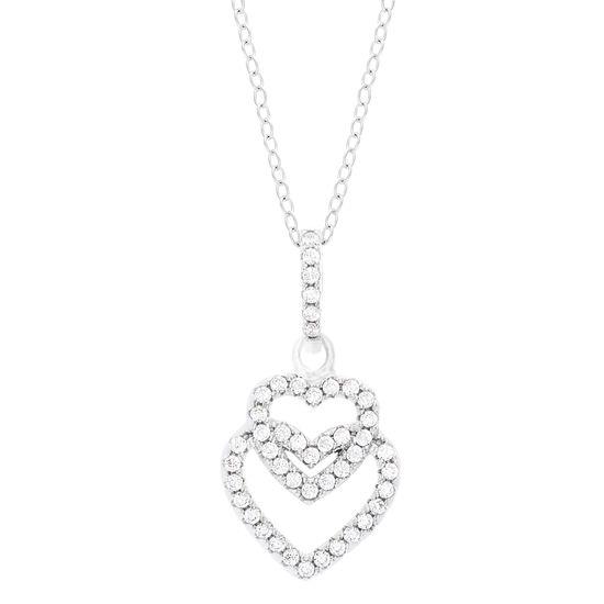 Imagen de Sterling Silver Cubic Zirconia Overlapping Open Heart Pendant