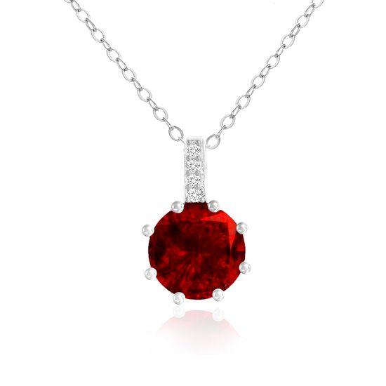 Imagen de Sterling Silver Red/Clear CZ Pendant Cable Chain Necklace