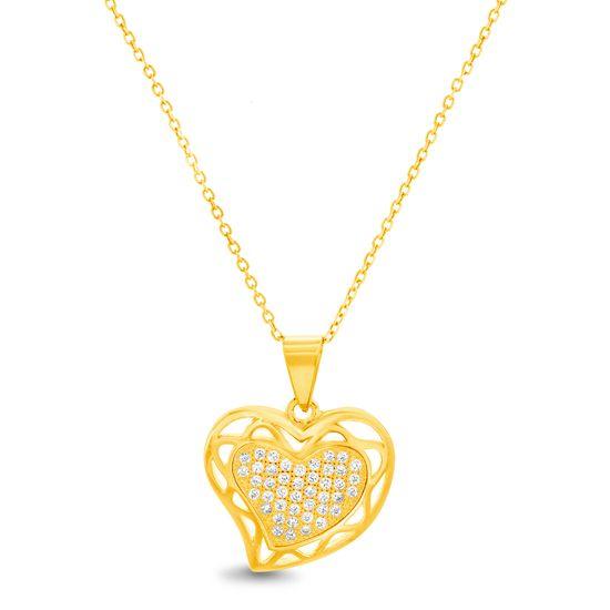 Imagen de Sterling Silver Cubic Zirconia Polished Open Border Design Heart Pendant