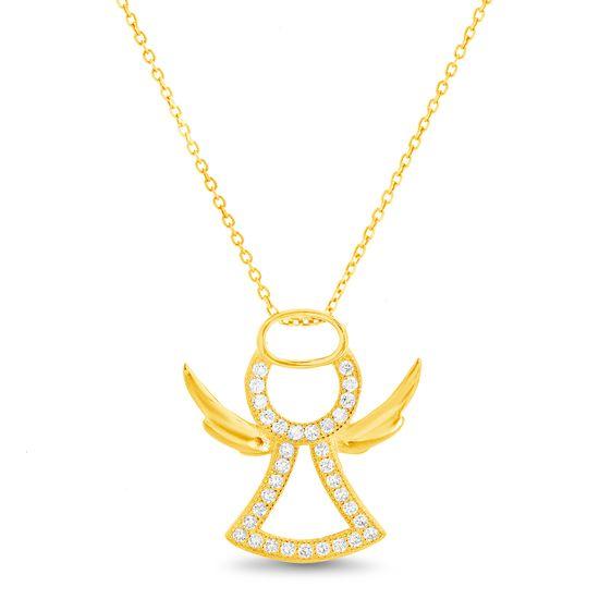 Imagen de Sterling Silver Cubic Zirconia Open Angel Design Pendant