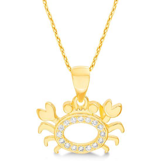 Imagen de Sterling Silver Cubic Zirconia Polished Open Design Crab Pendant