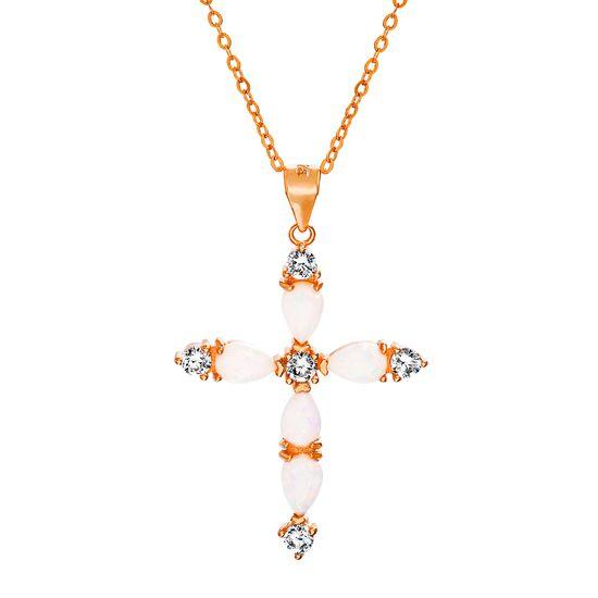 Imagen de Sterling Silver Teardrop White Opal Cubic Zirconia Cross Pendant