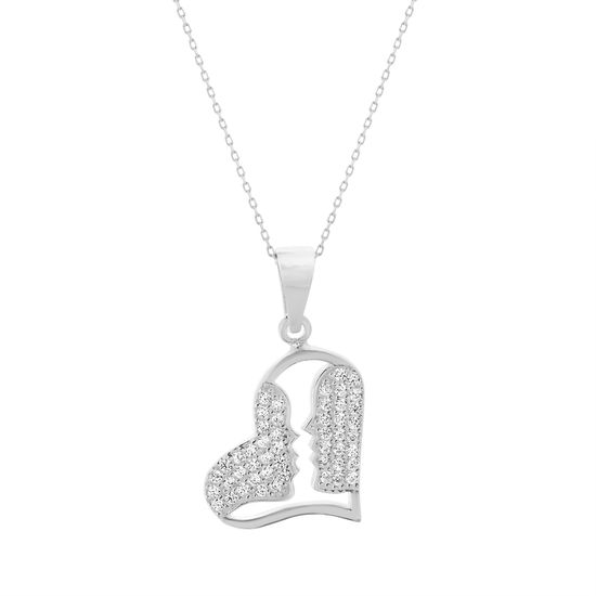Imagen de Cubic Zirconia Open Heart and Kisses Pendant in Sterling Silver