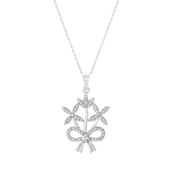Imagen de Cubic Zirconia Flower and Ribbon Design Pendant in Sterling Silver