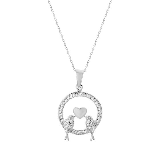Imagen de Cubic Zirconia Love Birds Open Circle Pendant in Sterling Silver