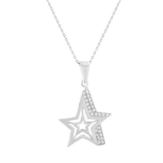 Picture of Cubic Zirconia Starburst Pendant in Sterling Silver