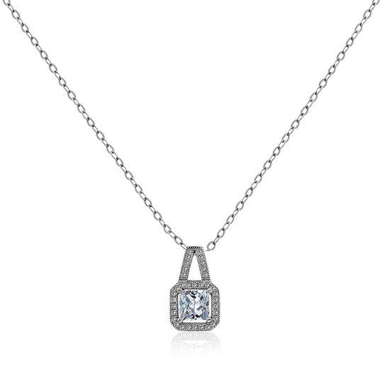 Imagen de Sterling Silver Princess-Cut Cubic Zirconia Pendant in Sterling Silver