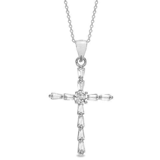Picture of Sterling Silver Cubic Zirconia Baguette Cross Pendant