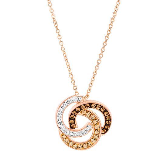 Imagen de Brass Smokey Topaz & Clear Crystal Interlocking Circle Pendant