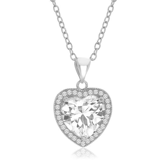 Imagen de Genuine Cubic Zirconia Halo Heart Pendant on Cable Chain Necklace