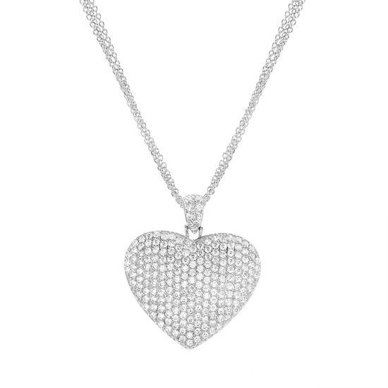 Imagen de Rhodium Plated Brass Pave Cubic Zirconia Heart Pendant