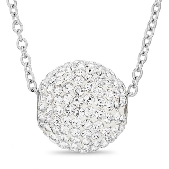 Imagen de Silver-Tone Stainless Steel Cubic Zirconia Ball 18 Rolo Chain Necklace