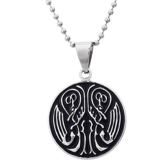 Imagen de Silver-Tone Stainless Steel Dragon Wing Pendant Men's Beads Chain Necklace