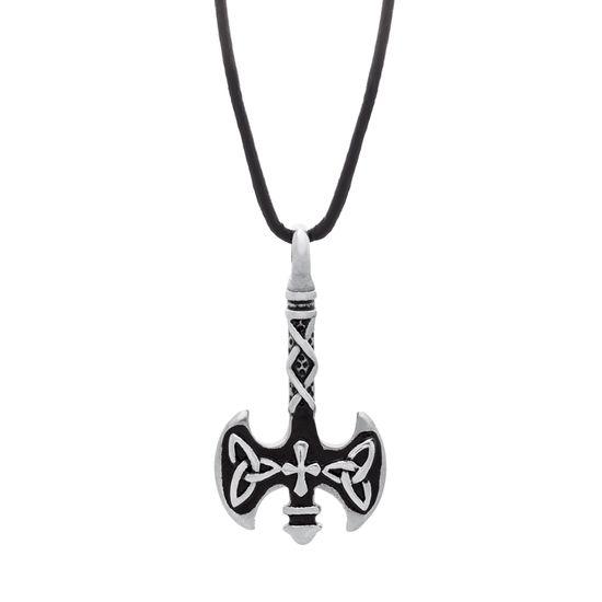 Imagen de Silver-Tone Stainless Steel Mens Black Enamel Double Sided Ax Pendant 22+2 Black Leather Cord Necklace