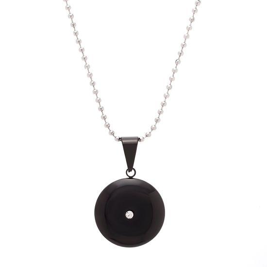 Imagen de Black-Tone Stainless Steel 28mm Cubic Zirconia Round Pendant