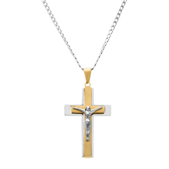 Imagen de Crucifix Pendant Curb Chain Necklace in Two Color IP Stainless Steel
