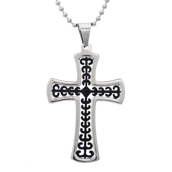 Imagen de Two-Tone Stainless Steel Men's Black Cubic Zirconia Polished Rim Cross Pendant 24 Ball Chain Necklace