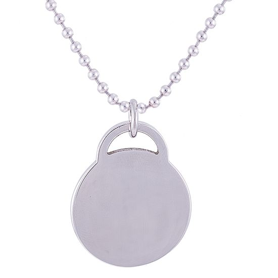 Imagen de Silver-Tone Stainless Steel 1 High Polished Round Lock Pendant