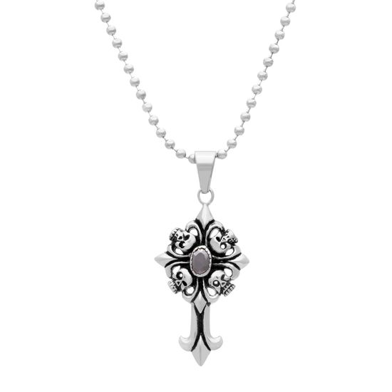 Picture of Silver-Tone Stainless Steel Black Cubic Zirconia Skull Cross Pendant