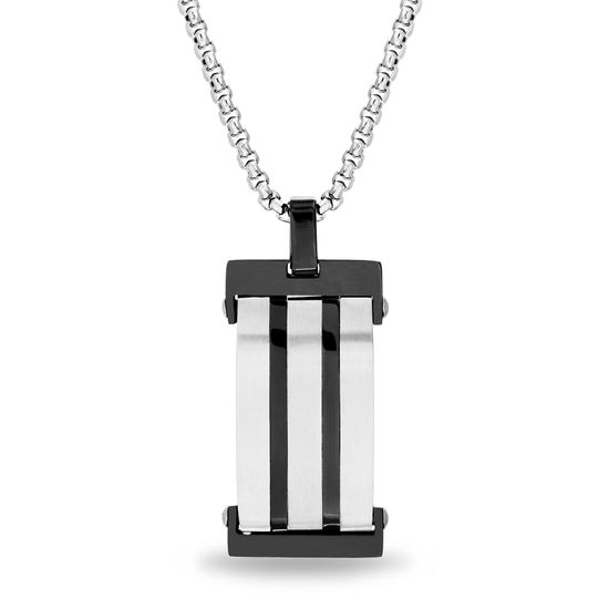 Imagen de Steve Madden Two-Tone Stainless Steel Mens Oxidized Striped Design Dog Tag Pendant 28 Rolo Chain Necklace