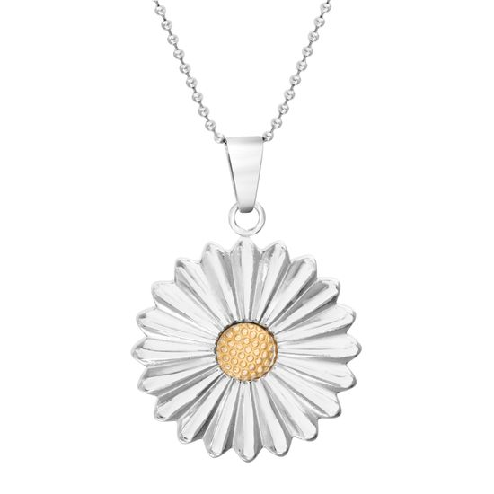 Picture of Two-Tone Stainless Steel Sunflower Pendant 18 Ball Chain Necklace