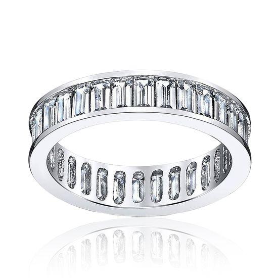 Imagen de Sterling Silver Bezel Baguette Cubic Zirconia Eternity Band Ring Size 8