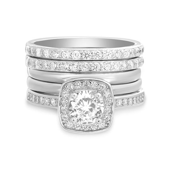 Picture of Sterling Silver Round Cubic Zirconia Square Halo 5 Piece Ring Size 7