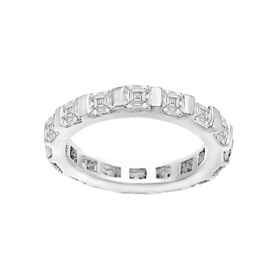 Imagen de Sterling Silver Cubic Zirconia Pave Bezel Square Design Ring Size 7