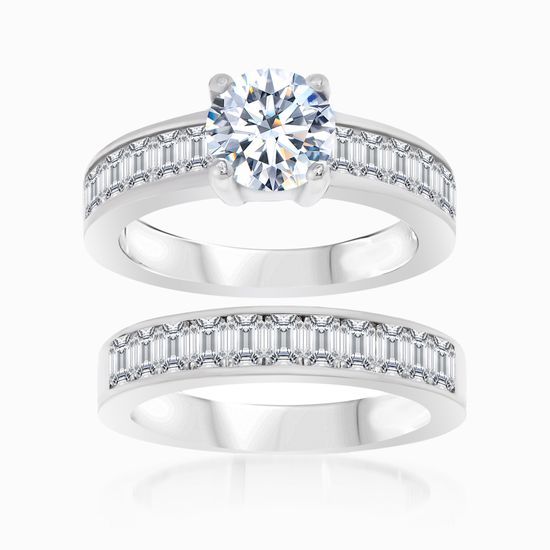 Imagen de Sterling Silver Round and Baguette Cubic Zirconia Duo Engagement Ring Set Size 6