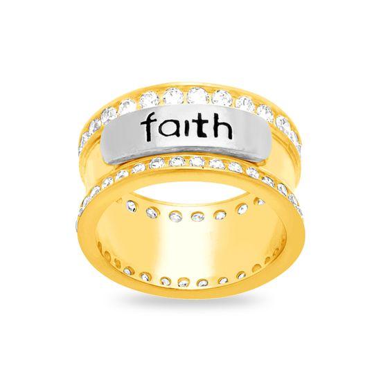 Imagen de Sterling Silver Cubic Zirconia Pave FAITH Center Ring Size 8