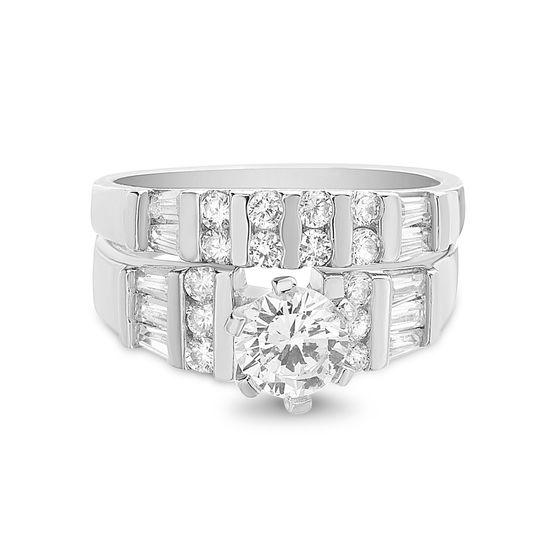 Imagen de Sterling Silver Round/Baguette Cubic Zirconia Engagement Ring Set Size 8
