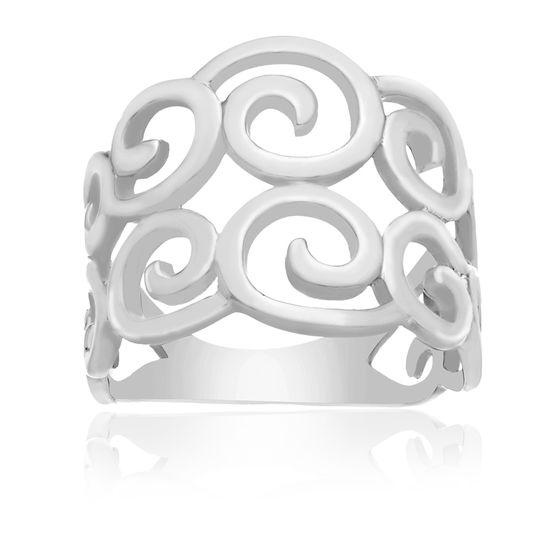 Imagen de Sterling Silver E-Coat Open Swirl Filigree Ring Size 7
